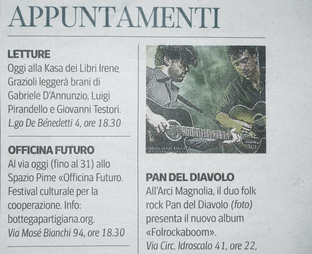 Corriere della sera Milano 29 gennaio  pagina 13