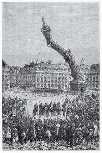 Artista ignoto, la demolizione della colonna Vendôme eretta da Napoleone Bonaparte in commemorazione della vittoria francese ad Austerlitz, litografia, 1871. Fonte: Getty Images