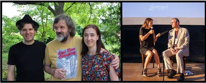 Gli ospiti del primo giorno: Emir Kusturica con Simone Massi e Julia Gromskaya, e Valentina Carnelutti con Luca Raffaelli