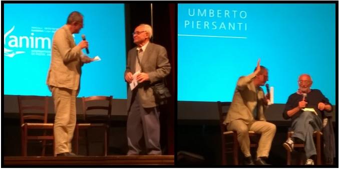 Gli ospiti della seconda serata: il minatore Pierino e il poeta Umberto Piersanti, intervistati da Luca Raffaelli